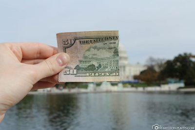 Ein halber 50 Dollar Geldschein mit dem Kapitol