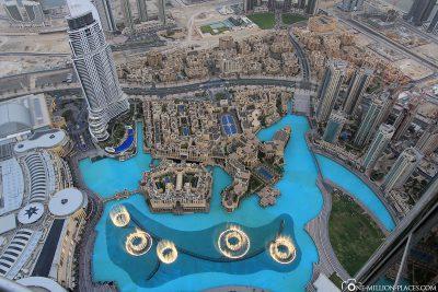 View of Dubai Mall and Dubai Fountains