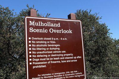 Infoschild Mulholland Drive