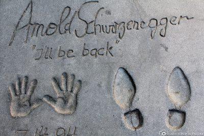 Der Abdruck von Arnold Schwarzenegger