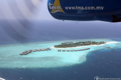 Flight over the Maldives