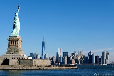 View of the Statue of Liberty and Manhattan
