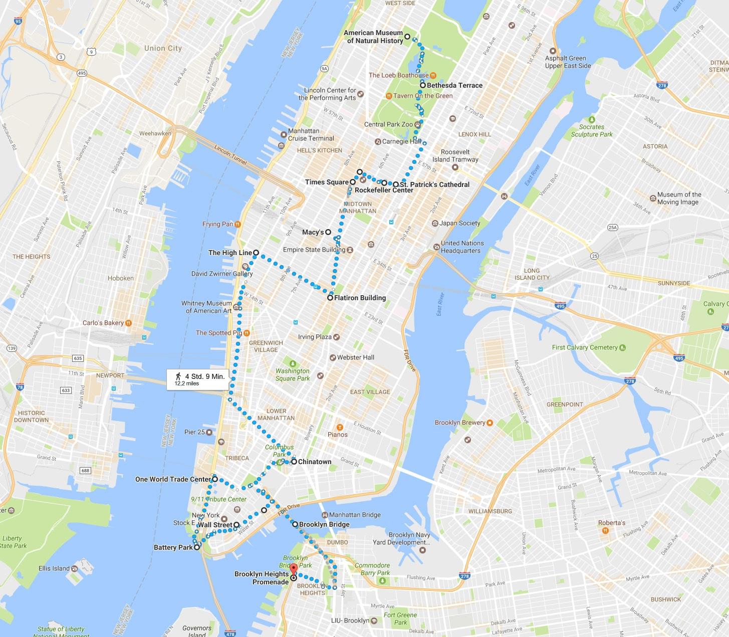 New York, Walking Tour, Auf eigene Faust, Route, An einem Tag, Reisebericht