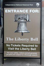 Infotafel für die Liberty Bell
