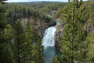 The waterfalls in Yellowstone National Park