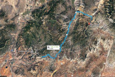 Die Strecke vom Zion Nationalpark zum Bryce Canyon