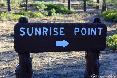 Wegweiser zum Sunrise Point
