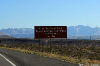 Die Ausfahrt 16 zum Zion Nationalpark