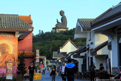 The Ngong Ping Village at the foot of the Big Buddha