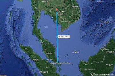 Die Flugstrecke von Singapur nach Siem Reap