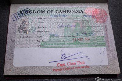 The visa for Cambodia