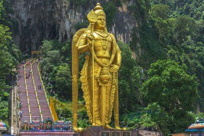 The 43-metre-high golden statue of Murugan