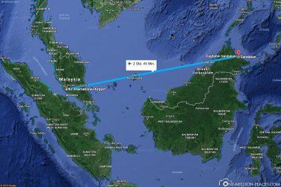 Die Flugstrecke von Kuala Lumpur nach Sandakan