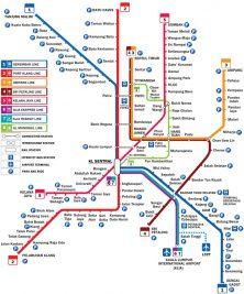The metro map of Kuala Lumpur