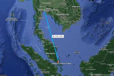 The flight route from Bangkok to Singapore