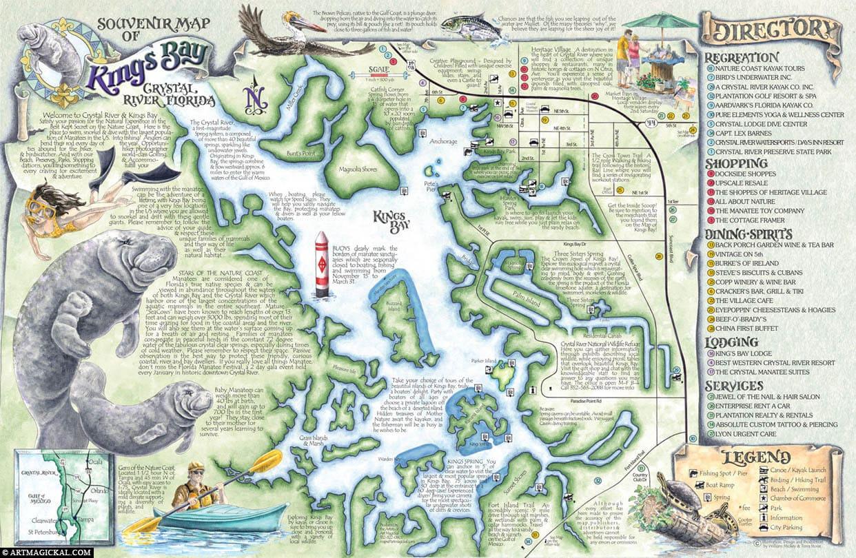 Crystal River, Map, Kings Bay, USA, Florida