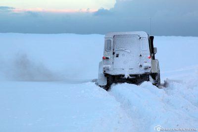 Unser steckengebliebener Jeep