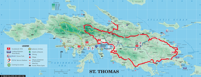 Map, Tour, Saint Thomas, Island Tour, U.S. Vigin Islands, Caribbean, Carnival Cruise, Travel Report