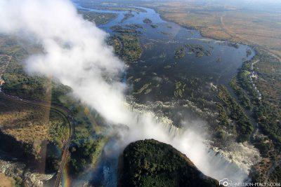 Ein Helikopterflug über die Victoriafälle