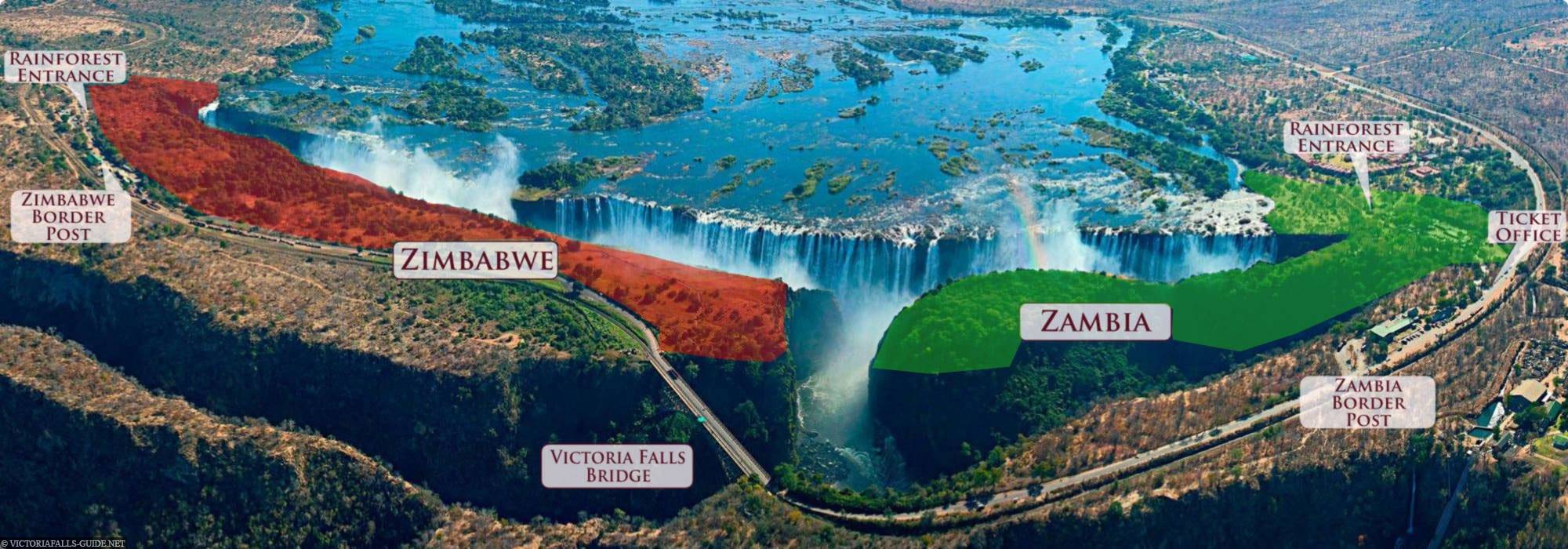 Victoriafälle, Karte, Sambia Seite, Simbabwe Seite, Nationalpark, Map, Reisebericht, Afrika