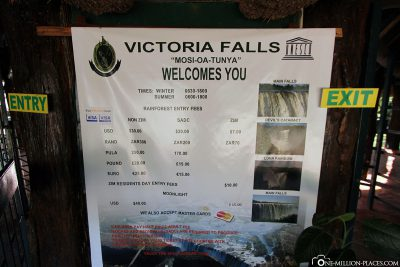Entrance fees for the Victoria Falls