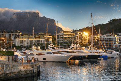 Die Waterfront zum Sonnenuntergang