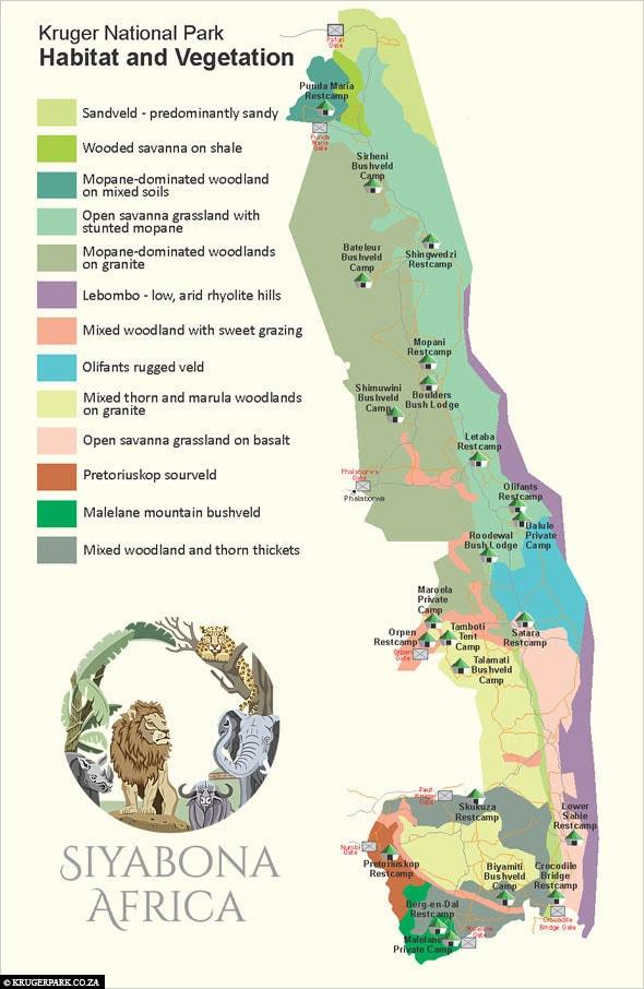 Kruger Nationalpark Karte