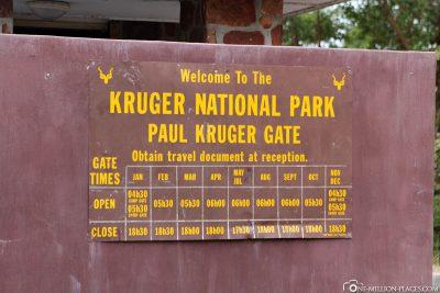 Öffnungszeiten Kruger-Nationalpark