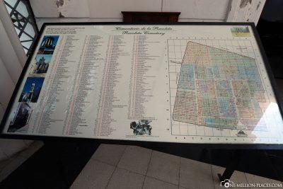Ein Plan des riesigen Friedhofs