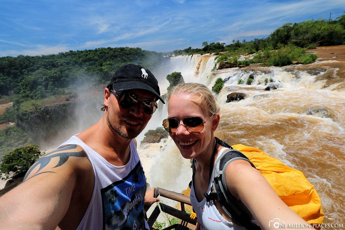 Selfie, Garganta de Diabolo, Iguazú-Wasserfälle, Argentinien, Nationalpark Iguazú, Puerto Iguazú, UNESCO, Wasserfälle, Auf eigene Faust, Reisebericht