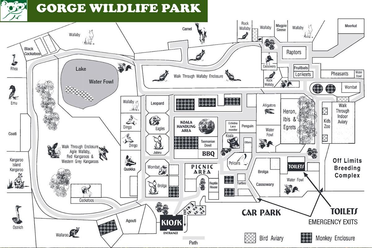Map, Gorge Wildlife Park, Adelaide, Zoo, State of South Australia, Australia, On Your Own, Travelreport