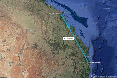 Die Flugstrecke von Brisbane nach Proserpine