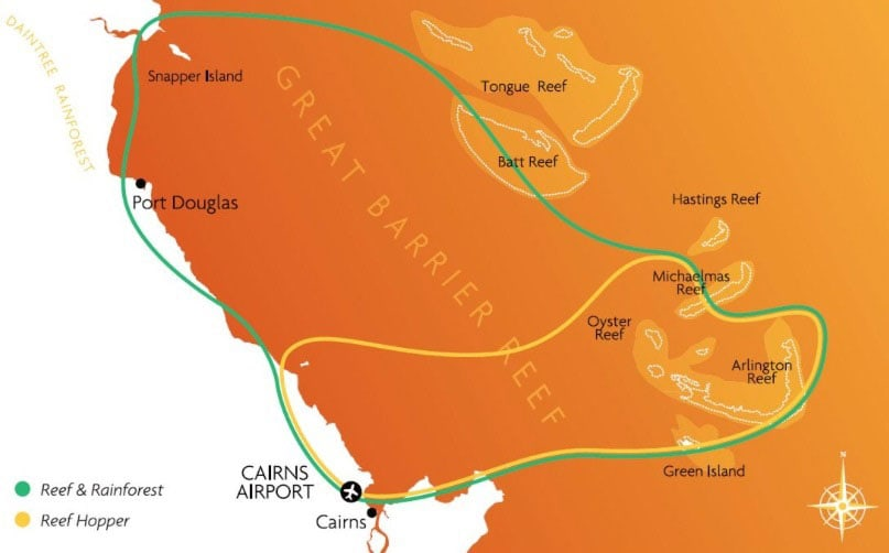 Route, Map, Cairns, Great Barrier Reef, Australia, State of Queensland, GSL Aviation, Travel Report
