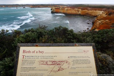 Information board with the history of the bay