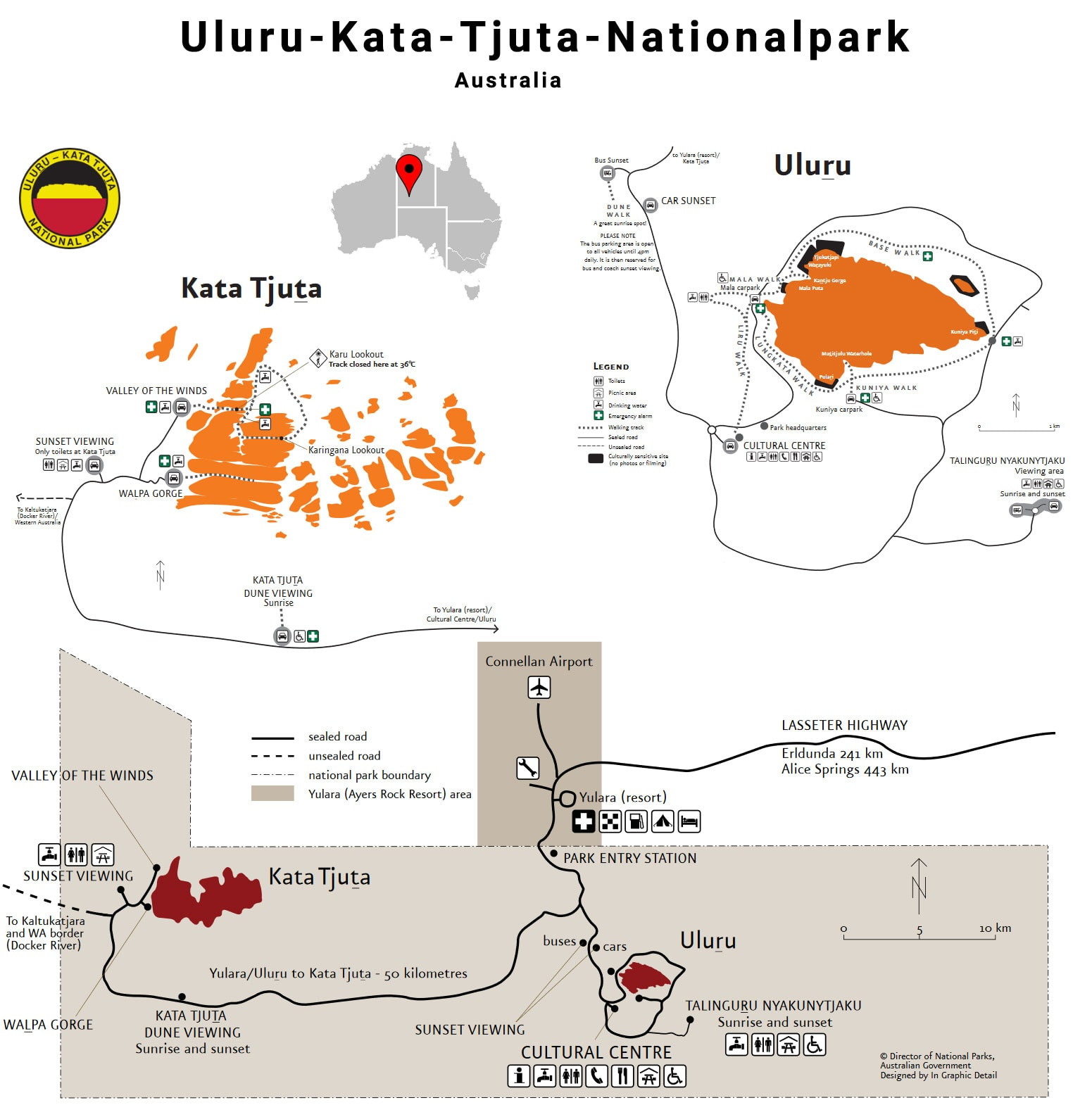 Map, Uluru-Kata-Tjuta National Park, Plan, Ayers Rock, Uluru, Australia, Travel Report