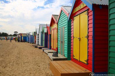 Die bunte Badehäuschen am Dendy Street Beach