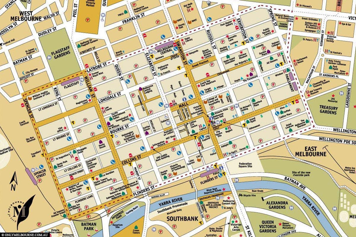 Map, Melbourne, State of Victoria, Attractions, Australia, On Your Own, Travelreport