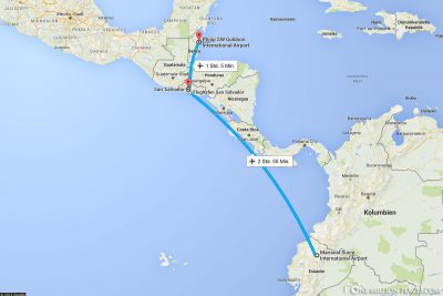The flight route from Quito via San Salvador to Belize