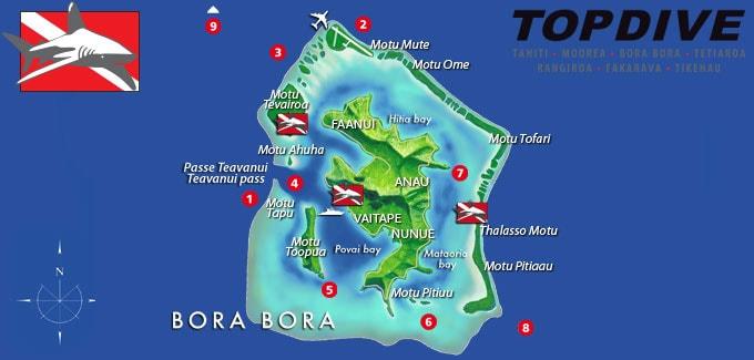 Karte, Tauchen, Topdive Bora Bora, Französisch-Polynesien, Südsee, Reisebericht