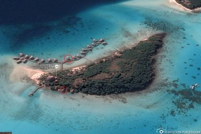 The location of our Island room and our Overwater Bungalow