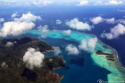 Flight over the island of Raiatea