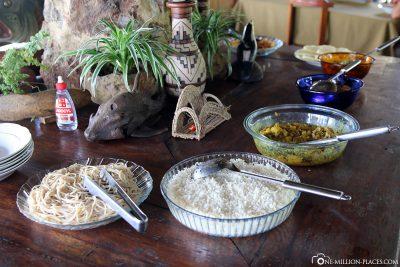 Das Essen in der Lodge