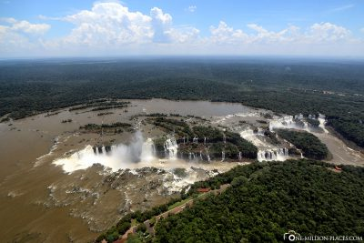 The Iguazu waterfalls from above