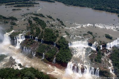 Helicopter flight over the Iguazu waterfalls