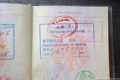 Stamp of the 72 hour visa in passport