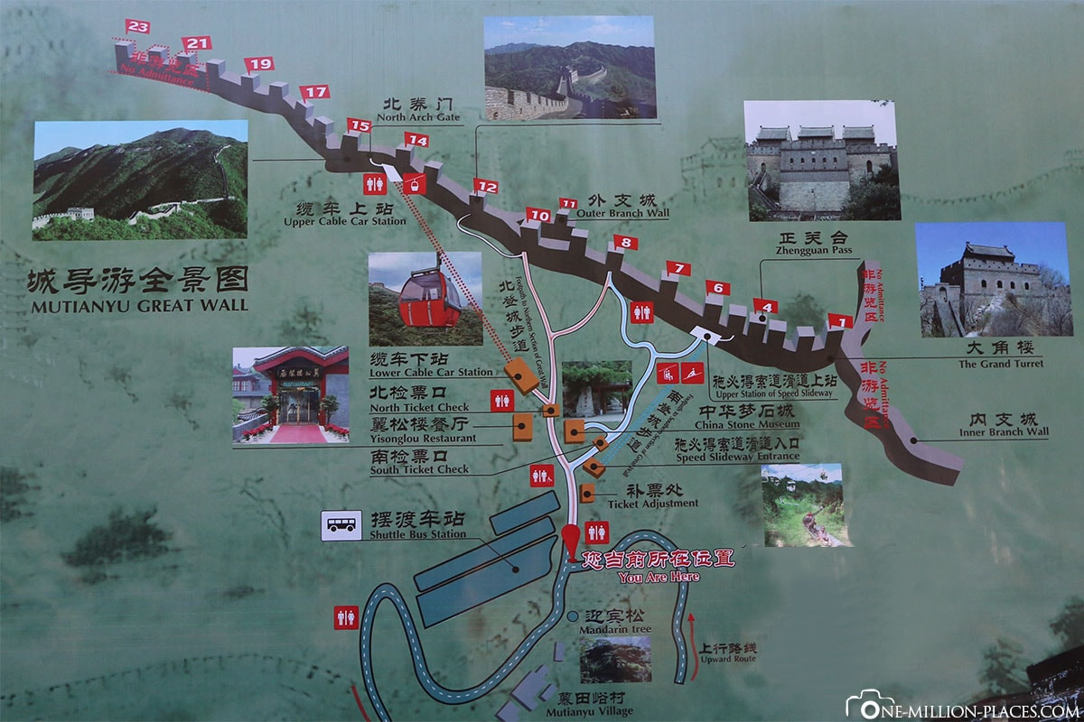 Karte, Plan, Mutianyu, Chinesische Mauer, Peking, Tagestour, China, UNESCO Welterbe, Weltwunder, Reisebericht