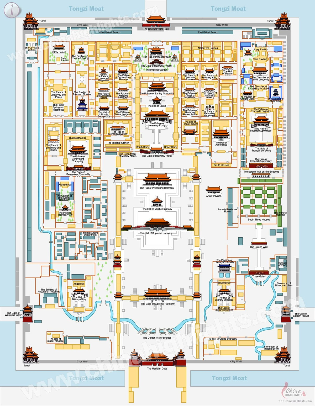 Map, Plan, Forbidden City, Beijing, China, Palace Complex, Attractions, On Your Own, Travelreport
