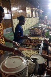 The buffet in the evening