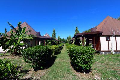 Die Gartenanlage des Resorts