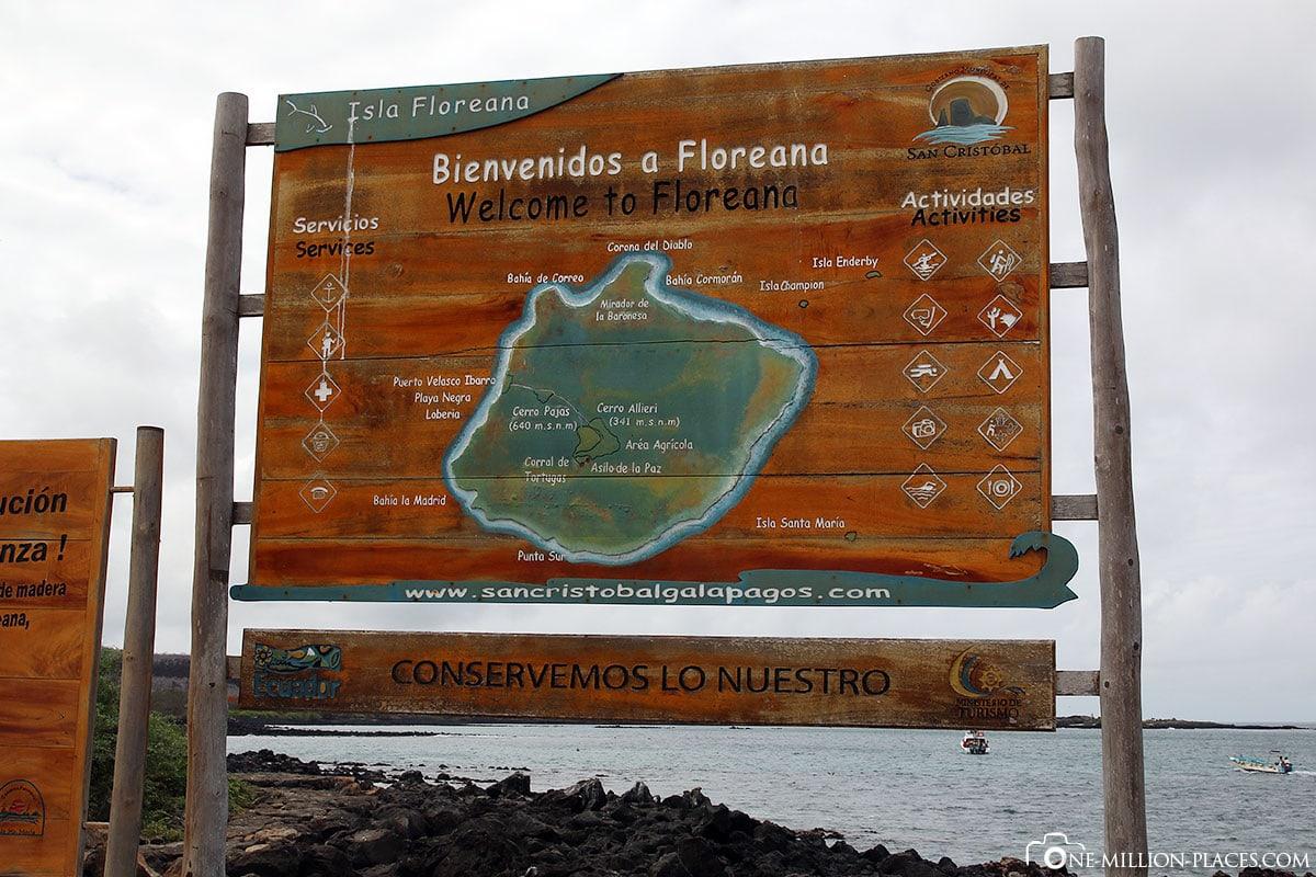 Karte, Insel Floreana, Galapagos, Ecuador, Südamerika, Rundreise, Reisebericht